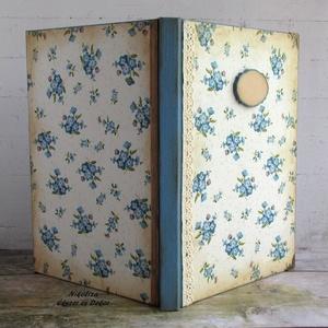 Nefelejcs mintás vintage napló, receptkönyv, emlékkönyv, vendégkönyv - RENDELHETŐ (NikoLizaDekor) - Meska.hu