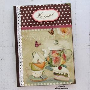 Vintage tea receptkönyv - RENDELHETŐ, Receptfüzet, Konyhafelszerelés, Otthon & Lakás, Decoupage, transzfer és szalvétatechnika, Festett tárgyak, A képen látható csodaszép receptkönyv már elkelt, de hasonlót tudsz rendelni! :) 2-3 nap alatt lesz ..., Meska