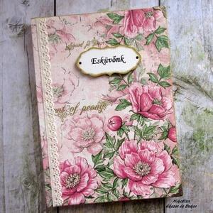Esküvői napló/tervező/emlékkönyv/vendégkönyv, rózsaszín-arany (NikoLizaDekor) - Meska.hu