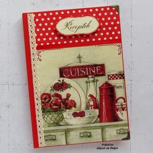 Piros vintage konyhamintás receptkönyv és teafiltertartó/kekszes/fűszeres/tároló doboz szettben (NikoLizaDekor) - Meska.hu