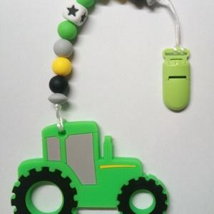 Traktor rágcsa, Játék & Gyerek, Baba & babaház, Babaruha, babakellék, Gyöngyfűzés, gyöngyhímzés, Vagány traktoros rágcsaláncot készítettem, káros anyagoktól mentes szilikonból.\nA csat segítségével ..., Meska