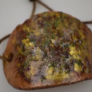 Tájkép az agyagon, Ékszer, Karkötő, Tájkép egy karkötőn. Agyag karkötő az ősz színeivel, az agyag része 9 cm, barna selyemzsinórral és c..., Meska