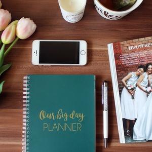 Esküvőtervező napló, Esküvő, Naptár, képeslap, album, Otthon & lakás, Jegyzetfüzet, napló, Fotó, grafika, rajz, illusztráció, Egy esküvő tervezése során ezernyi apró dologra kell odafigyelni, éppen ezért lépésről lépésre segít..., Meska