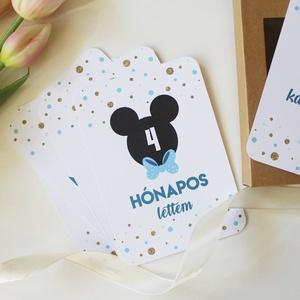 Mickey újszülött mérföldkőkártya csomag, Névjegykártya, Papír írószer, Otthon & Lakás, Fotó, grafika, rajz, illusztráció, A kisfiúknak készült újszülött mérföldkő- és köszöntőkártyákkal megörökítheted kisbabád első éveinek..., Meska