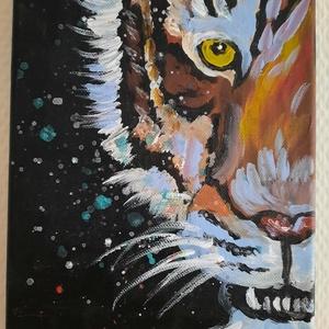 Eye of the Tiger, Művészet, Festmény, Akril, Festészet, Kis méretű. Akril festékkel készítettem, 18*24 cm-es fekete vászonra. Egy fél tigris fejet ábrázol...., Meska