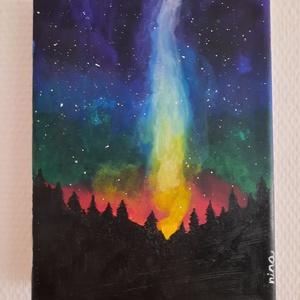 Csoda az erdő mélyén, Művészet, Festmény, Akril, Festészet, 18*24-es méretű akril festmény, vászonra készítettem.\nVarázslatos éjszakai fényeket ábrázol...., Meska