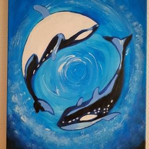 Jin-jang, Művészet, Festmény, Akril, Festészet, Akril festékkel készült vászonkép.\n30*40-es méretű.\n2 kardszárnyú delfint ábrázol, a vászon szélei i..., Meska