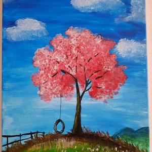 A nyugalom szigete, Művészet, Festmény, Akril, Festészet, Akril festékkel festettem, 30*40-es vászonkép.\nEgy fát ábrázol ami egy dombon áll, teljesen nyugodt ..., Meska