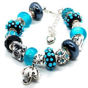 Esőnap! - Pandora stílusú karkötő, Ékszer, Karkötő, Gyöngyfűzés, gyöngyhímzés, Ékszerkészítés, Fekete alapon kék pöttyös, valamint egyszínű kék és fekete üveg- és kerámiagyöngyökből, ezüst színű..., Meska