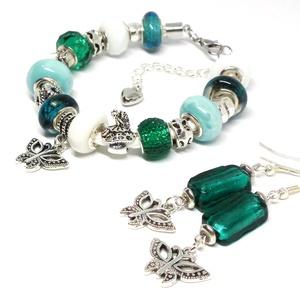 Pille - Pandora stílusú karkötő és fülbevaló, Ékszer, Karkötő, Ékszerszett, Fülbevaló, Gyöngyfűzés, gyöngyhímzés, Ékszerkészítés, Türkizkék mintás, smaragd zöld és fehér üveggyöngyökből, halvány kék kerámia gyöngyökből, ezüst szí..., Meska