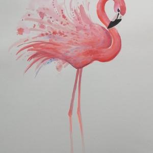 Flamingó, Festmény vegyes technika, Festmény, Művészet, Festészet, Flamingó dekoráció A4 méretben. Tetszőleges méretben is rendelhető, kiváló trendi ajándék névnapra, ..., Meska