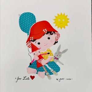 Kislányról készült rajz, Falra akasztható dekor, Dekoráció, Otthon & Lakás, Festészet, Fotó, grafika, rajz, illusztráció, Születésre, születésnapra, névnapra, egyéb különleges alkalomra  rendelhető grafika, tetszőleges mér..., Meska