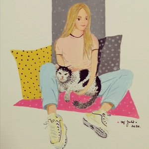Lány rajza saját cicájával, Gyerek & játék, Gyerekszoba, Baba falikép, Otthon & lakás, Dekoráció, Kép, Festészet, Fotó, grafika, rajz, illusztráció, Születésre, születésnapra, névnapra, egyéb különleges alkalomra  rendelhető grafika, tetszőleges mér..., Meska