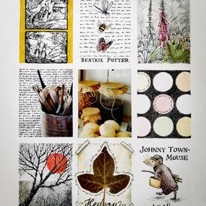Beatrix Potter hommage, Otthon & Lakás, Dekoráció, Falra akasztható dekor, Festészet, Beatrix Potter figurái, motívumai jelennek meg a képen., Meska