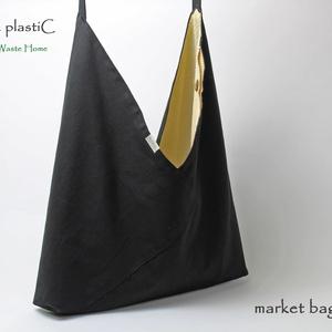 fekete piacolós, Táska, Táska, Divat & Szépség, Válltáska, oldaltáska, Varrás, Egy darab nagy bevásárlótáska. A szettet másik polcon találod.\n\nTERMÉKISMERTETŐ:\nEzt a táskát saját ..., Meska