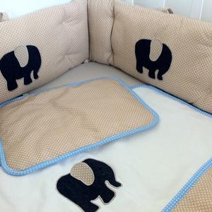 Egyedi applikált rácsvédő babaágyba - farmer elefánt (NoaNoa) - Meska.hu