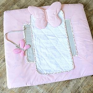 PELENK�ZÓ HUZAT vízzáró hátoldallal + ALAP - rózsaszín,pöttyös pillangó (NoaNoa) - Meska.hu