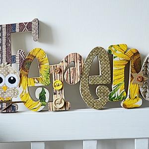 BETŰK, BABABETŰK - 6 betűs név (1500 Ft/betű), Dekoráció, Otthon & lakás, Gyerek & játék, Gyerekszoba, Festett tárgyak, Mindenmás, Egyedileg díszített írott betűket, polisztirol habbetűket kínálunk otthonodba. \n\nKezdőbetű magassága..., Meska