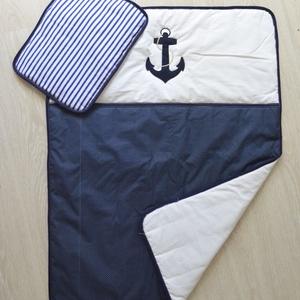 HORGONYos szett kék-fehér - takaró+párna (NoaNoa) - Meska.hu