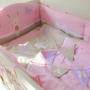 Egyedi applikált rácsvédő babaágyba - rózsaszín-lila- Hanna style (NoaNoa) - Meska.hu