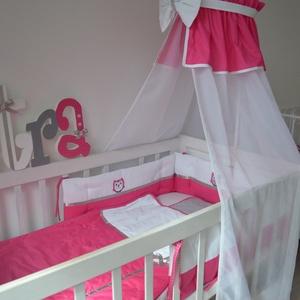 Egyedi applikált rácsvédő babaágyba - pink-ezüst-szürke-PETRA style (NoaNoa) - Meska.hu