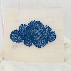 Kék felhő cérna kép, Otthon & lakás, Dekoráció, Kép, Festett tárgyak, Újrahasznosított alapanyagból készült termékek, Cukiság faktor az egekben!!! ♥♥♥\n\nA kék felhő cérna képet egy különleges technikával készítettük el...., Meska