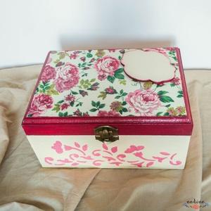 Személyes üzenettel ellátható, négyszögletes fa dobozka rózsaszín és bézs színekben (nodino) - Meska.hu