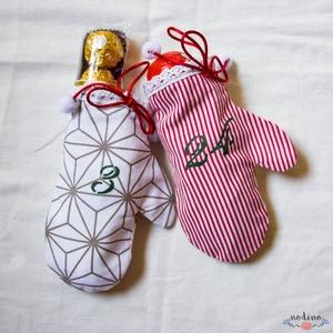 Adventi naptár, akasztós színes kesztyű naptár, csipke díszítéssel, karácsonyi dekoráció (24 darab), Adventi naptár, Karácsony & Mikulás, Varrás, Festett tárgyak, Vidám egyujjas, a telet idéző kesztyűkbe könnyen elrejthetjük a gyerekek adventi meglepetéseit. Mind..., Meska