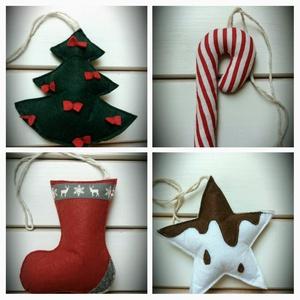 Filc fenyő, cukorpálca,csizma, csokis csillag, karácsonyi díszek szettben, Karácsonyfadísz, Karácsony & Mikulás, Otthon & Lakás, Varrás, Az ár 4 db-ra vonatkozik.Karácsonyi díszeket, dekorációkat készítettem filcből. Ezeket szettben megv..., Meska