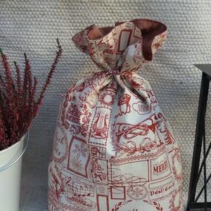 Ajándéktartó zsák, mikulás zsák, Mikulás, Karácsony & Mikulás, Otthon & Lakás, Varrás, Karácsonyi hangulatú, nosztalgikus stílusú 35x50 cm-es zsák. Egyik oldala karácsonyi mintás, krémszí..., Meska