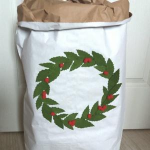 Karácsonyi papírzsák, tároló, Karácsony & Mikulás, Karácsonyi csomagolás, Sokoldalúan felhasználható nátron papírzsák. Három rétegű, 25 kg-ig terhelhető. Hozzáadott érték a f..., Meska