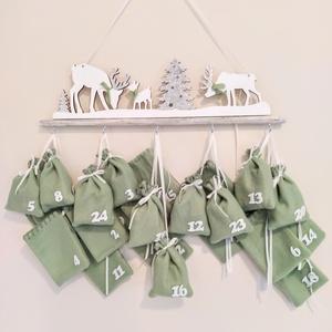 Adventi naptár, Otthon & Lakás, Karácsony & Mikulás, Adventi naptár, Varrás, Halvány zöld és fehér színek dominálnak ezen a naptáron. Ünnepi hangulatát a csillogó ezüst fenyők, ..., Meska
