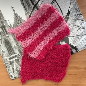 Cleany speciális dörzsi fonalból kézzel kötött csíkos pink és rózsaszín mosogató szivacs tisztító kendő egyedi konyhába, Otthon & lakás, Konyhafelszerelés, Edényalátét, Edényfogó, Horgolás, Kötés, Kézzel kötött csíkos, pink/rózsaszín dörzsi mosogató szivacs, speciális Schachenmayr fonalból.\nMéret..., Meska