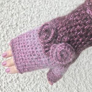 Horgolt ujjatlan mittain kesztyű színátmenetes rózsaszín pink burgundi vintage retro romantikus rózsa díiszekkel mohair (noesz65) - Meska.hu