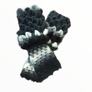 Őszi téli ujjatlan kesztyű klasszikus fekete fehér szürke színekben sárkány vagy krokodil pikely mintával , Kesztyű, Sál, Sapka, Kendő, Ruha & Divat, Horgolás, Kötés, Kézzel horgolt, nagyon kellemes őszi-téli ujjatlan kesztyű (mittain), ún. sárkány (dragon scale) vag..., Meska