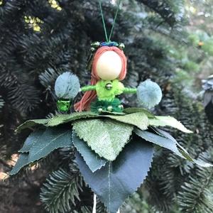 Karácsonyi dísz tündér zöld selyem gyöngy drót baba virág, Karácsony & Mikulás, Karácsonyfadísz, Egyedi kézzel készült nagyméretű karácsonyfadísz, zöldes árnyalatú karácsonyi  Hótündér zöld levél é..., Meska