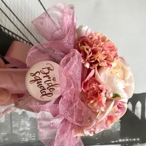 Rózsaszín pink krém barack pasztell, tüll és organza örökcsokor, leánybúcsú csokor,  koszorúslány csokor esküvőre, Esküvő, Menyasszonyi- és dobócsokor, Ékszerkészítés, Rózsaszín pink krém barack pasztell, tüll és organza díszítésű selyemvirág örökcsokor, leánybúcsú cs..., Meska