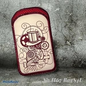 Steampunk bagoly telefontok, Táska & Tok, Pénztárca & Más tok, Telefontok, Hímzés, Varrás, Steampunk bagoly díszítéssel hímzett, ökobőr (bélelt) telefontok. Maximum 15,5 x 7,5 cm-es okostelef..., Meska