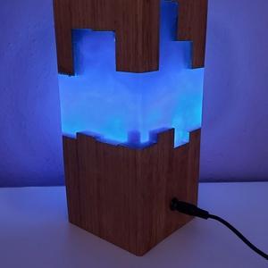 Kőrisfa LED hangulatlámpa királykék műgyantával, Otthon & Lakás, Lámpa, Hangulatlámpa, Famegmunkálás, Legújabb munkánk egy kézzel készült kőrisfa LED hangulatlámpa, melyet királykék gyöngyházas műgyantá..., Meska