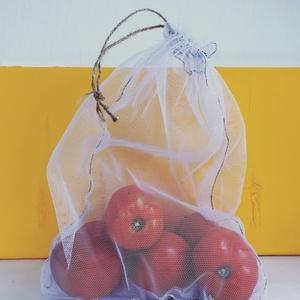 Újrahasznosított textil zacskó, vásárláshoz , Zöldség/Gyümölcs zsák, Bevásárlás & Shopper táska, Táska & Tok, Újrahasznosított alapanyagból készült termékek, Varrás, A boltomban , egytől egyig olyan termékeket találhattok amiket a munkám során feleslegessé vált anya..., Meska