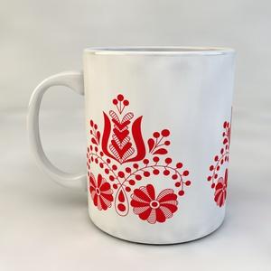 Porcelán bögre - Magyar motívumos 1, Konyhafelszerelés, Otthon & lakás, Bögre, csésze, Magyar motívumokkal, Táska, Divat & Szépség, Fotó, grafika, rajz, illusztráció, Mozaik, Alapanyaga fehér porcelán, űrtartalma 3dl.\nMinden termék egyedi abból a szempontból, hogy az arra al..., Meska