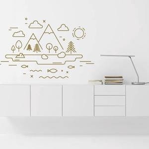Falmatrica_vonalas tájkép_745x470mm, Gyerek & játék, Dekoráció, Otthon & lakás, Falmatrica, Gyerekszoba, Fotó, grafika, rajz, illusztráció, Remek hangulatot varázsol ez a faldekoráció a nappalidba vagy akár a lakás más helységébe. Vágógéppe..., Meska