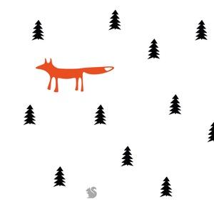 Falmatrica_Fenyőerdő rókával és mókussal, Falmatrica & Tapéta, Dekoráció, Otthon & Lakás, Fotó, grafika, rajz, illusztráció, Remek hangulatot varázsol ez a faldekoráció a nappalidba vagy akár a lakás más helységébe. Vágógéppe..., Meska