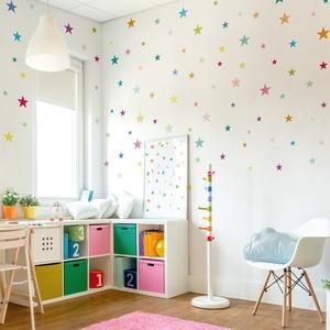 Falmatrica_Sok színes csillag, Gyerek & játék, Dekoráció, Otthon & lakás, Falmatrica, Gyerekszoba, Fotó, grafika, rajz, illusztráció, Remek hangulatot varázsol ez a faldekoráció lakásod bármely helységébe. Vágógéppel kivágott öntapadó..., Meska