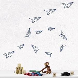 Falmatrica_Papírrepülők, Gyerek & játék, Dekoráció, Otthon & lakás, Falmatrica, Gyerekszoba, Fotó, grafika, rajz, illusztráció, Remek hangulatot varázsol ez a faldekoráció lakásod bármely helységébe. Vágógéppel kivágott öntapadó..., Meska