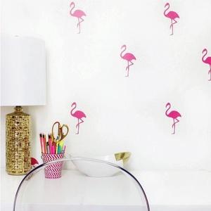 Falmatrica_Flamingók, Gyerek & játék, Dekoráció, Otthon & lakás, Falmatrica, Gyerekszoba, Fotó, grafika, rajz, illusztráció, Remek hangulatot varázsol ez a faldekoráció lakásod bármely helységébe. Vágógéppel kivágott öntapadó..., Meska