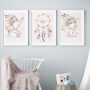 Babaszoba fali dekoráció, egyedi névre szóló babaposzter- elefánt, álomfogó- falikép, keret nélkül, Otthon & lakás, Dekoráció, Kép, Lakberendezés, Falikép, Gyerek & játék, Gyerekszoba, Baba falikép, Fotó, grafika, rajz, illusztráció, Papírművészet, Babaszoba fali dekoráció, egyedi babaposzter - elefánt és álomfogó - több  méretben, keret nélkül. A..., Meska