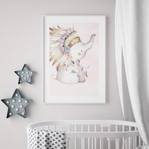 Babaszoba fali dekoráció, egyedi névre szóló babaposzter- elefánt, álomfogó- falikép, keret nélkül (nordicoo) - Meska.hu