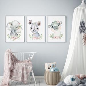 Babaszoba fali dekoráció, babaposzter - virágos safari állatok - falikép, keret nélkül, Otthon & lakás, Dekoráció, Kép, Lakberendezés, Falikép, Gyerek & játék, Gyerekszoba, Baba falikép, Fotó, grafika, rajz, illusztráció, Papírművészet, Babaszoba fali dekoráció, babaposzter - virágos sarafi állatok - több méretben, keret nélkül.\n\nAz ár..., Meska