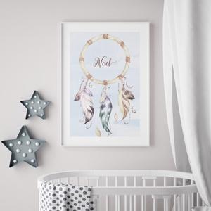 Babaszoba fali dekoráció, egyedi babaposzter - indián elefánt, álomfogó - falikép, keret nélkül (nordicoo) - Meska.hu